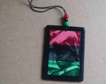 Marcus Garvey RBG wood pendant with adjustable length cording