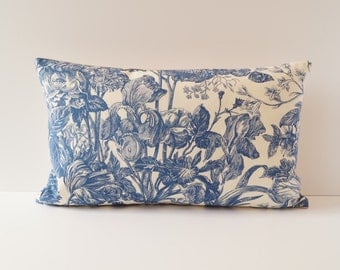 Pillowcase toile de Jouy blue, 30 x 50 cm