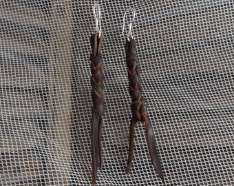 leather earrings with 9.5 silver hooks, braided leather, black leather or brown leather, braided leather earrings, leather fringes