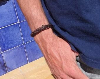 genuine leather custom men's braided bracelet 8 strand braid custom mens leather bracelet brown black leather bracelet for men gift for him