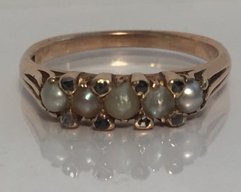 Antique 15ct pearl and diamond ring