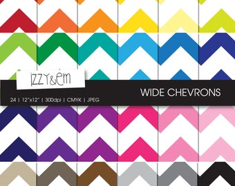 "Thick Rainbow Chevron - Digital Paper Pack - Chevron Scrapbooking Paper - Digital Scrapbook Supply - Digital Pattern - 12x12"" Digital Paper"