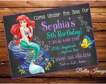 Under The Sea Birthday Invitation, Little Mermaid, Ariel Party, Mermaid Party, Girls, Ariel Invites, Little Mermaid Invitation, Digital File