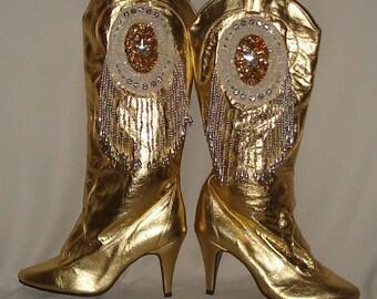 Gold Vintage GoGo Boots Size Medium