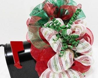 Christmas Mailbox Cover Swag Wrap Decoration, Christmas Deco Mesh Mailbox Wreath Cover, Red Green Traditional  Mailbox Swag