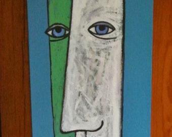 Signed original cubist Gunter Temech painting dated 1996  New York City artist