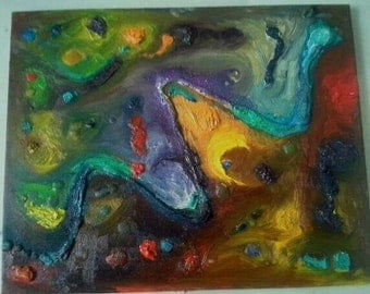 Colorful rainbow abstract oil and candle wax textural painting
