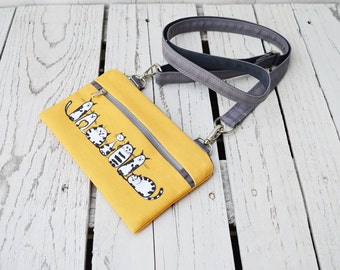 Yellow Cat Vegan Fanny Pack, Printed Waist Pack, Hipster Comfortable Belt Bag, Canvas Zippered Small Purse, Caturday Fanny Pack