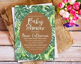 Tropical Baby Shower Invitation, Tropical Leaf Invitation, Palm Leaves  Invitation, Hawaiian Baby Shower