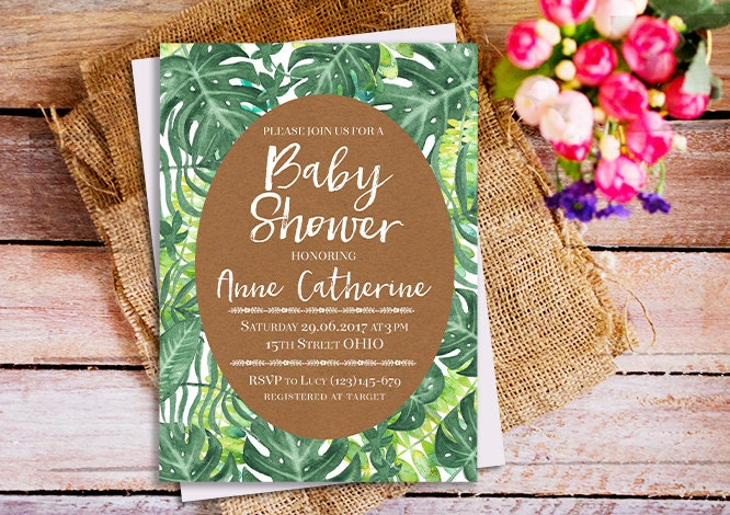 tropical baby shower invitation tropical leaf invitation palm leaves invitation hawaiian baby shower