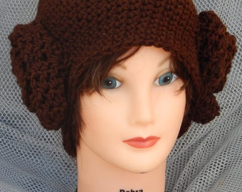 Sale! 18 dollars Star Wars Princess Lea Inspired Crochet Adult Hat (ask for other sizes)