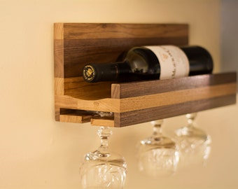 Wooden Wine Rack Wall Mounted in Butternut and Walnut Wood