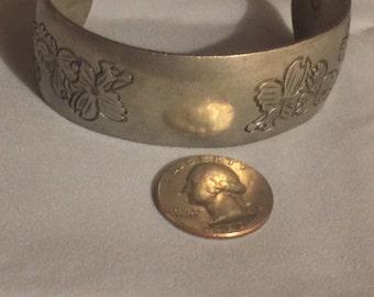 Pewter Cuff Bracelet Engraved Flowers