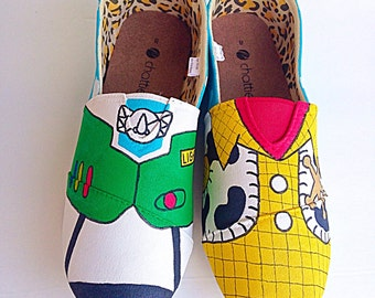Cowboy and space ranger inspired custom canvas shoes - Toddler/kids/adult - hand painted shoes - popular character shoes - toddler present