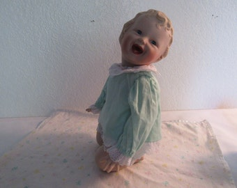 Adorable Vintage Porcelain Baby Doll on Knees by Yolanda