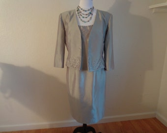 "Stunning Vintage Formal Grey Beaded Dress and Jacket, Size Medium by ""Patra"""