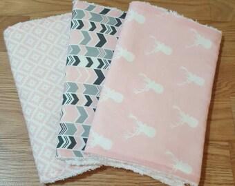 Baby Girl chenille burp cloths- Pink deerhead, baby shower gift, burp rag, boutique burpcloth