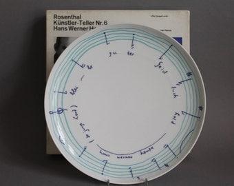 Rosenthal Artist Plate No. 6 HANS WERNER HENZE 1975 Limited Ed. w/box