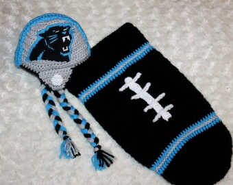 Baby FOOTBALL Cocoon, Newborn Football swaddle, Carolina PANTHERS Inspired (Handmade by me and not affiliated with the NFL)