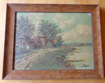 Vintage 'Oil on Board' sign painting - Dutch scene