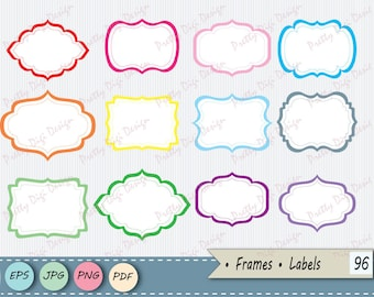 Instant download clipart Frames PNG, JPG, vector eps, Labels, Etiquetes Clipart, Ready to print Digital Frames, Brackets clip art