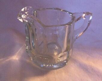 Heisey Heavy Clear Glass Creamer - Paneled Design