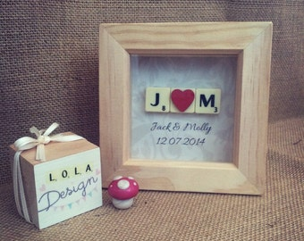 Personalised mini scrabble frame, wedding gift, anniversary gift handmade.