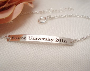 Sterling silver, Gold filled or Rose gold filled Personalized Bar Bracelet...engraved name plate bar jewelry, monogram, bridesmaid gift