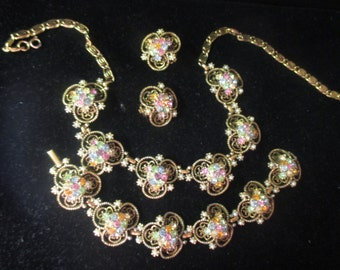 Vintage multi-color rhinestone Necklace,bracelet, earring set