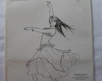 Belly Dance Costuming Sewing Pattern, Najla's Accent Skirt, One size, Atira's Fashions 1987, Overskirt only, Boho, Tribal, Gypsy