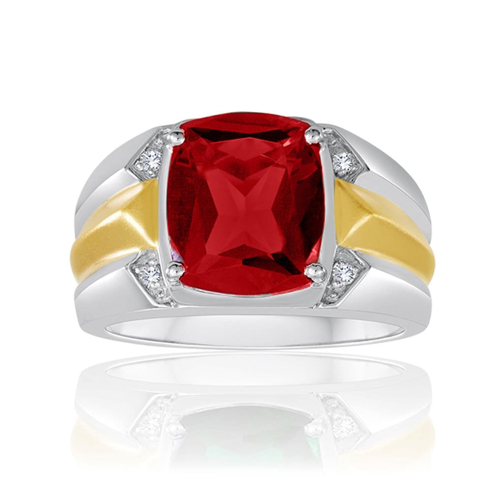 Antique Cut Ruby Ring Men S Red Gemstone Ring Two Tone