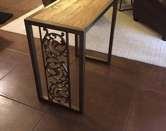 Old world reclaimed wood and steel side table