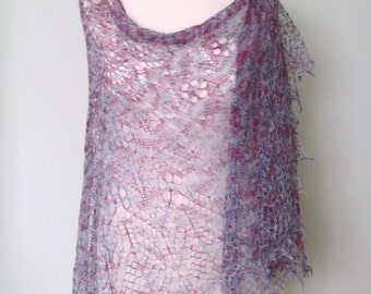 Handmade knitted lace shawl with nupps and beads