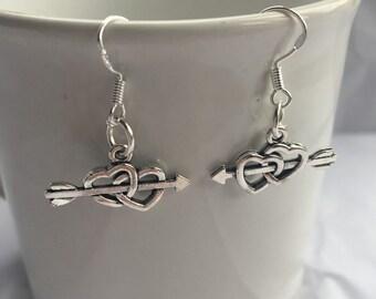 Cupid Love Heart Earrings