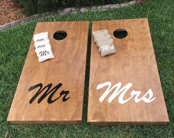 Mr & Mrs Stained Wedding Cornhole / Bag Toss Boards w/Matching Bags