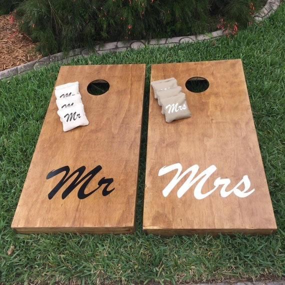 Mr Mrs Stained Wedding Cornhole Bag Toss Boards W Matching Bags