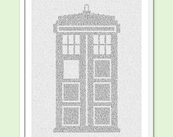 TARDIS - Doctor Who Text Art Print - Free AU Shipping