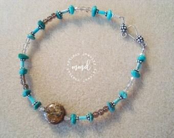 Turquoise, Bronzite and Smoky Quartz Ankle Bracelet