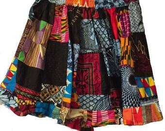 African Patch Batik Skirt (pw811)