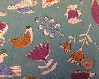 Floral Bird Kokkah Fabric Japanese Import