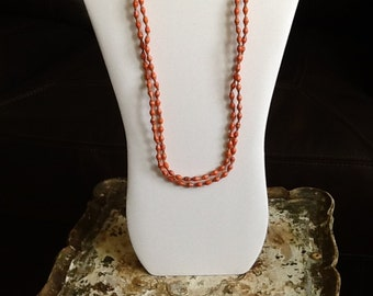 Copper Seed Beaded Necklace, Tangerine & Brown