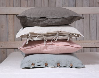 Linen pillow sham / Flax pillow cover / organic pillow case