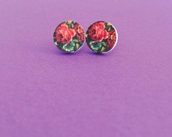Vintage Flower Wood Round Stud Earrings - Wood Earrings - Vintage Earrings - Flower Earrings
