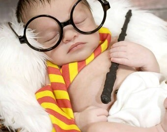 Harry Potter, photography prop, wand, scarf, potter glasses, newborn props, newborn photography, baby potter, baby potter glasses