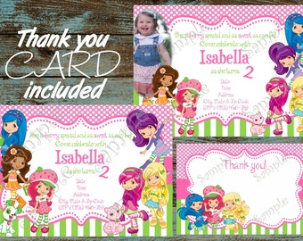 Strawberry Shortcake, Strawberry Shortcake Invitations, Strawberry Shortcake birthday, Strawberry Shortcake party, Strawberry thank you card