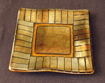 Fused Glass Dish with Metallic Gold Accents Set in Amber
