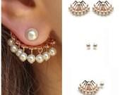 Ear jacket pearl, Rose gold earrings wedding, Front to back earrings, Rose gold earrings, Ear jacket Earring, Rose gold bridal earrings