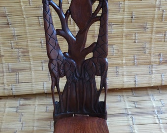 Authentic carving,handmade from Malawi, african map chair with 2 giraffes.
