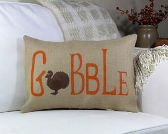 Fall Pillow, Thanksgiving Pillow, Gobble Turkey Pillow, Throw Pillow, Accent Pillow, Fall Harvest Decor, Thanksgiving Decor, Fall Decor