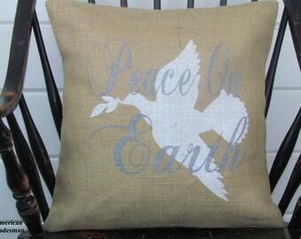 Burlap Pillow- Peace On Earth, Christmas Decor, White Dove, Burlap Christmas Pillow, Peace On Earth Pillow